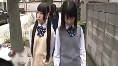 2 Japanese schoolgirls seduce milf