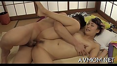 Taut asian mama pleasures herself