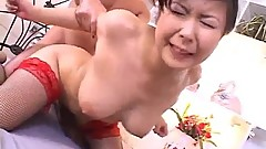Marin Asaoka fucked in bondage style and creamed with jizz
