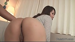White creampie for Hinata Komine after a steamy anal