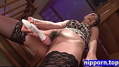 Asian MILF masturbates and tastes cumshot HD