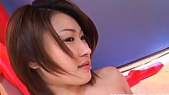 Kokoro Miyauchi Japanese milf strips and enjoys deep throating fat cock for cum to swallow and a fac
