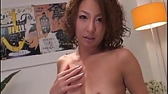 Luna Mikami rubs cock with feet for cum
