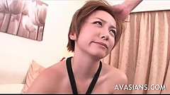 Japanese milf deepthroats a hairy cock and cum swallow
